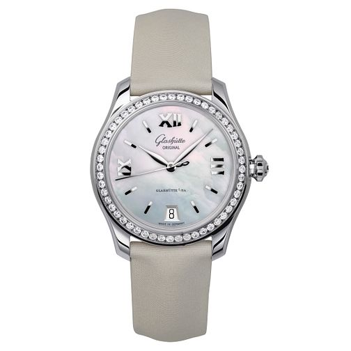 Glashutte Lady Serenade Ladies' Diamond Grey Strap Watch - Product number 8084300