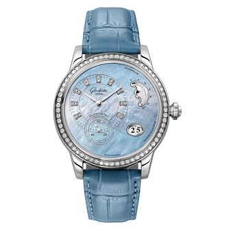 Glashutte Panomatic Luna Ladies' Diamond Blue Strap Watch - Product number 8084327