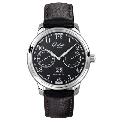Glashutte Senator Men's Stainless Steel Black Strap Watch - Product number 8084343