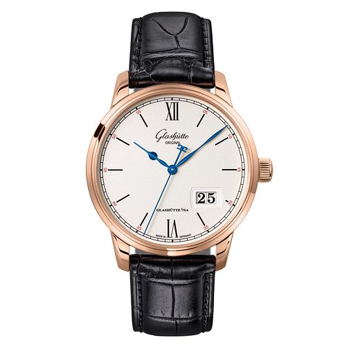 Glashutte Senator Men's 18ct Rose Gold Black Strap Watch - Product number 8084408