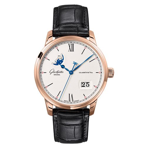 Glashutte Senator Men's 18ct Rose Gold Moonphase Watch - Product number 8084424