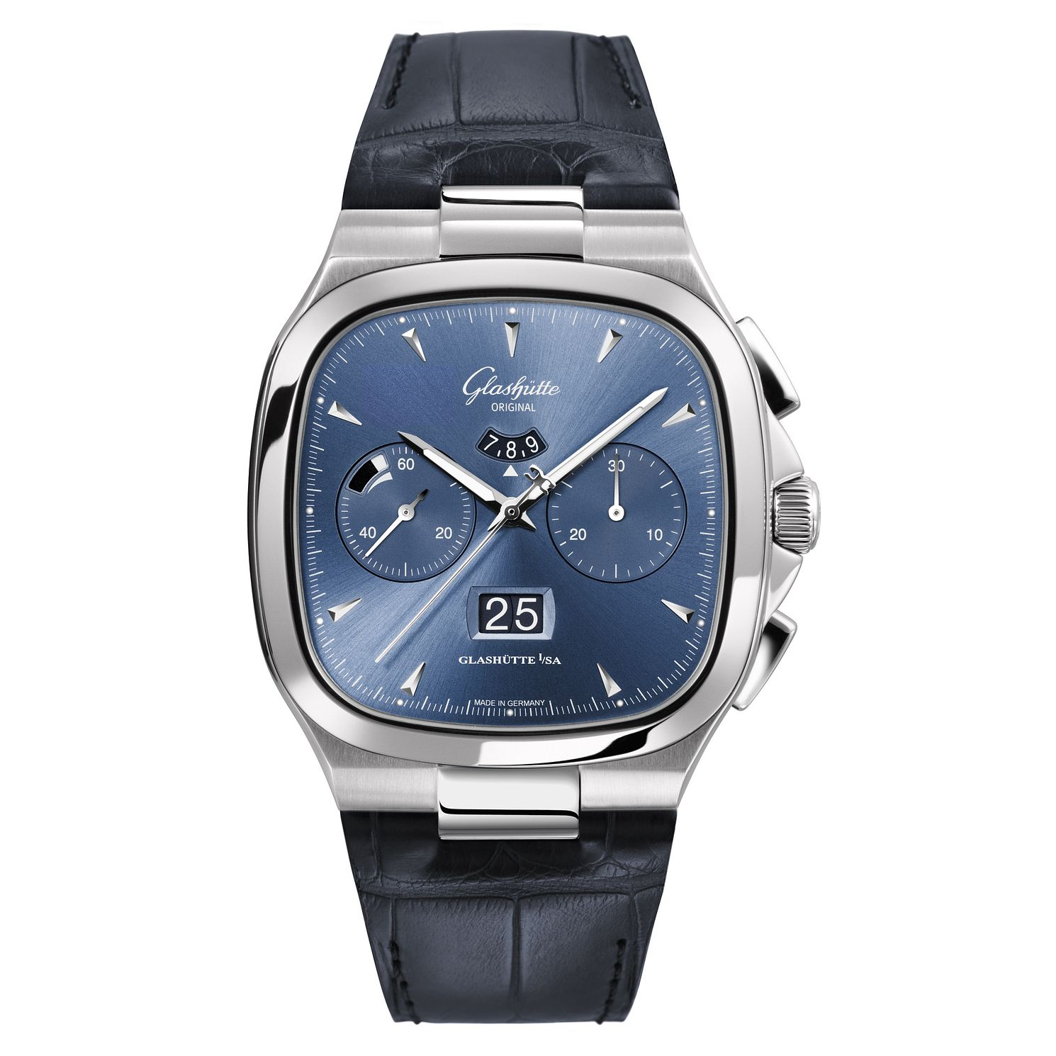 Glashutte Vintage Seventies Men's Square Blue Strap Watch - Product number 8084459