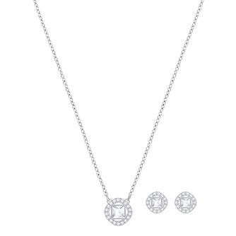 2bdf9920a6ff9 Swarovski Angelic Rhodium Plated Stud Earrings & Pendant Set