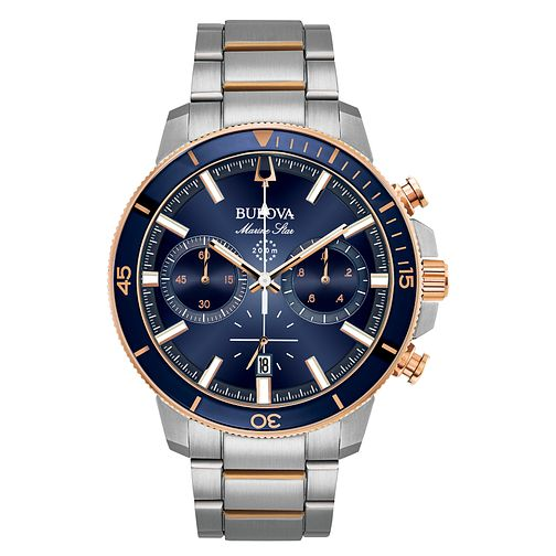 Bulova Men's Marine Star Blue & Rose Gold Tone Watch - Product number 8087865