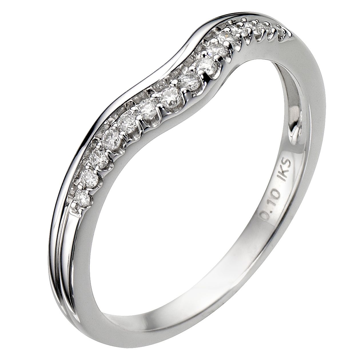 18ct White Gold U Shaped 0.10ct Diamond Ring - Product number 8089957