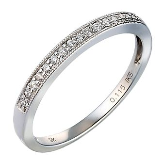 9ct White Gold 0.10ct Diamond Band - Product number 8092354