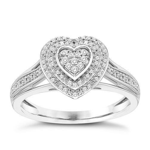 Sterling Silver 1/10ct Diamond Heart Ring - Product number 8101167