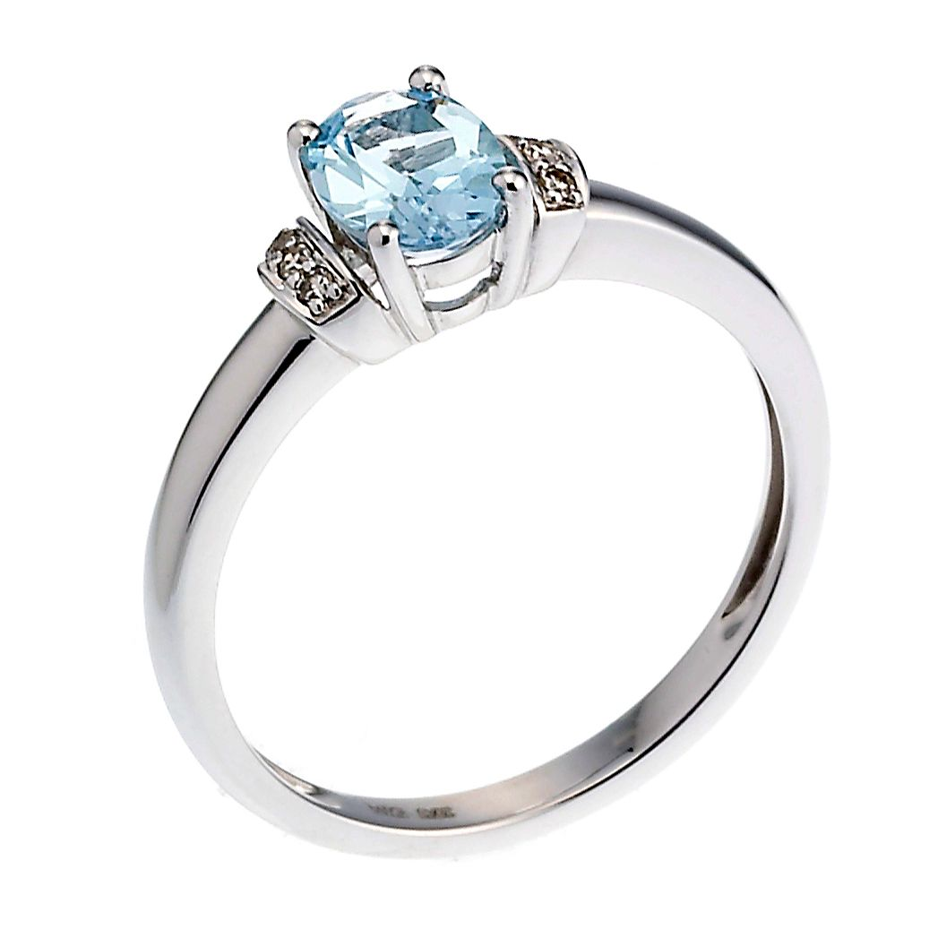 9ct White Gold Blue Topaz & Diamond Ring - Product number 8101523