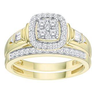 9ct Yellow Gold 1/2ct Diamond Perfect Fit Bridal Set - Product number 8102171