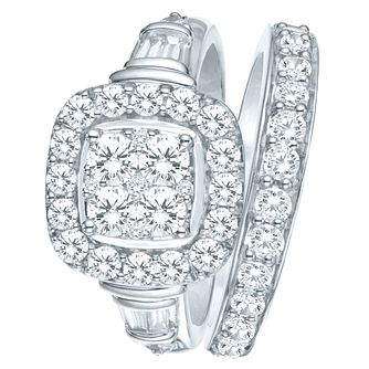 9ct White Gold 1 1/2ct Diamond Perfect Fit Bridal Set - Product number 8102317