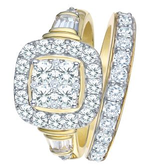 9ct Yellow Gold 1 1/2ct Diamond Perfect Fit Bridal Set - Product number 8102600