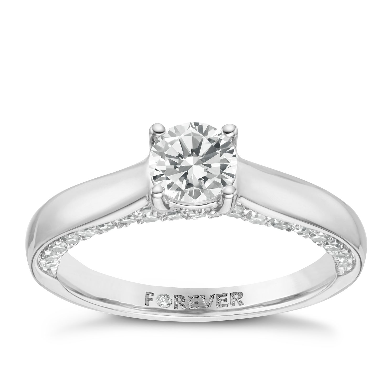 18ct White Gold Forever Diamond Solitaire Ring - Product number 8103291