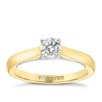 18ct Yellow Gold 1/2ct Forever Diamond Solitaire Ring - Product number 8103542