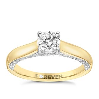 18ct Yellow Gold 1ct Forever Diamond Solitaire Ring - Product number 8103690