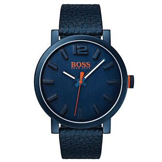 Boss Orange Men's Blue Leather Strap Watch - Product number 8104735