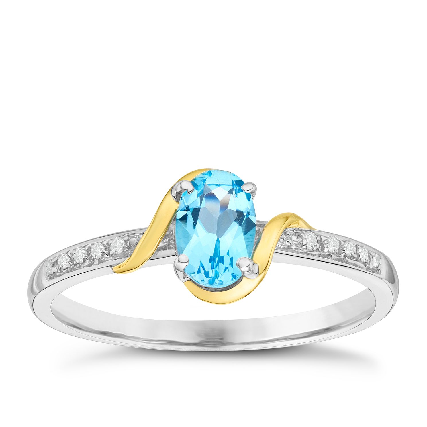 Sterling Silver & 9ct Yellow Gold Blue Topaz Ring - Product number 8105340