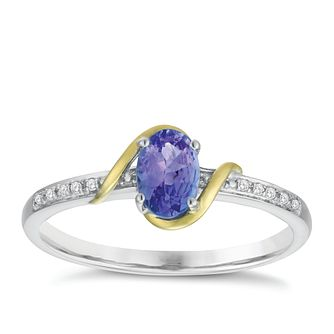 Sterling Silver & 9ct Gold Diamond & Tanzanite Ring - Product number 8106320
