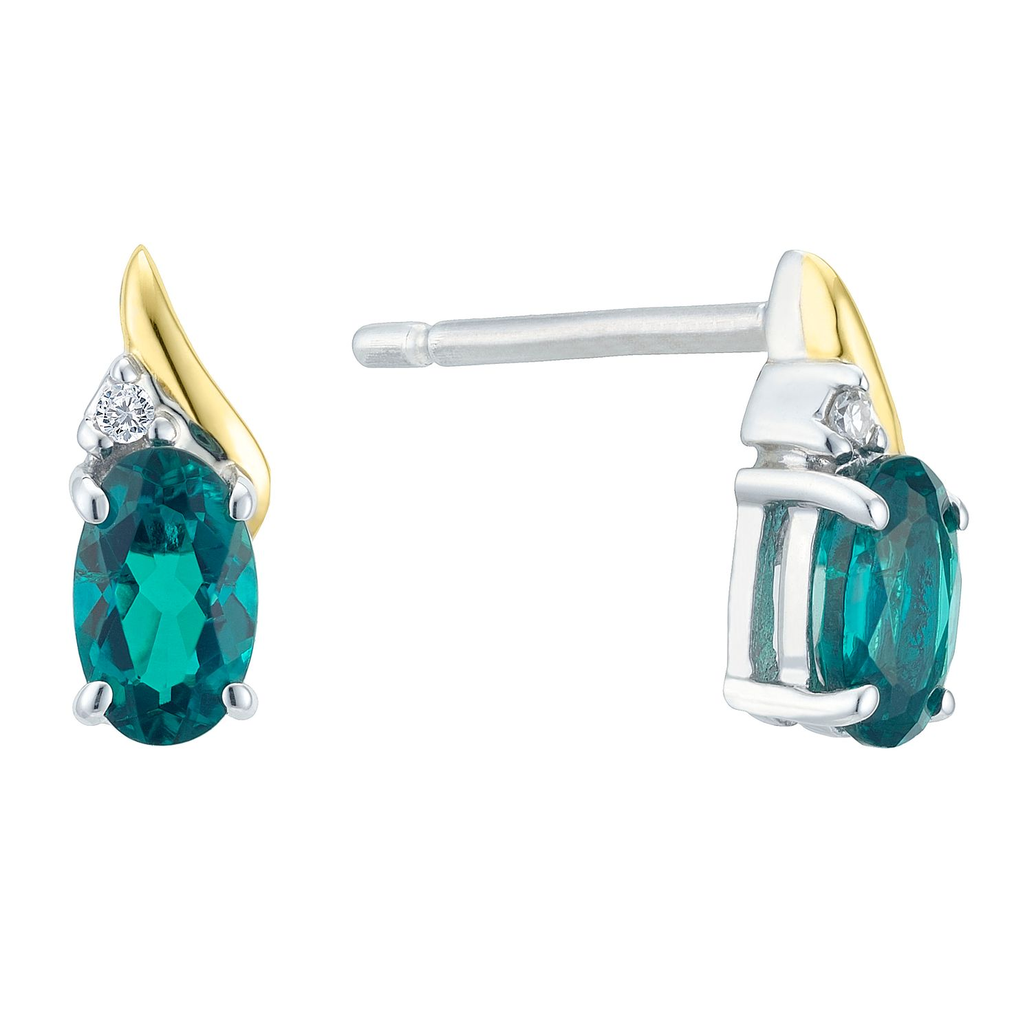 Silver & 9ct Gold Diamond & Created Emerald Earrings - Product number 8106622