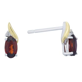 Sterling Silver & 9ct Yellow Gold Garnet & Diamond Earrings - Product number 8106649