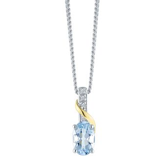 Sterling Silver & 9ct Gold Diamond & Aquamarine Pendant - Product number 8106711