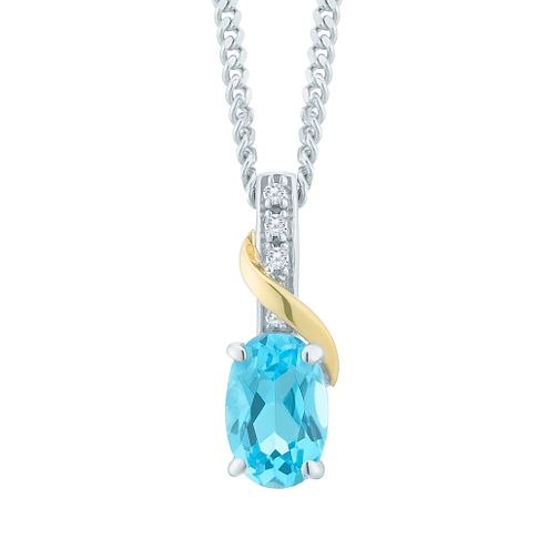 Sterling Silver & 9ct Yellow Gold Blue Topaz Pendant - Product number 8106746