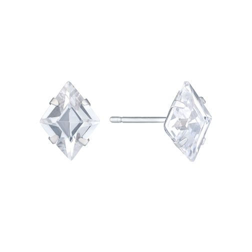 9ct White Gold Diamond Shaped Cubic Zirconia Stud Earrings - Product number 8106878