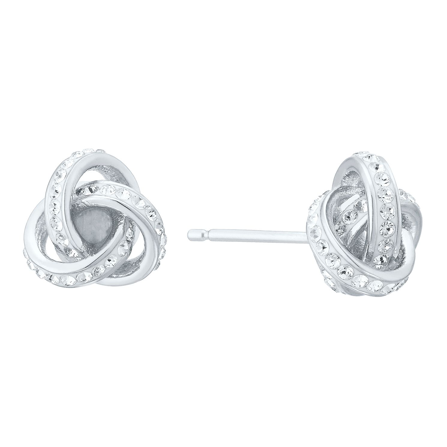 Evoke Silver Crystal Knot Stud Earrings - Product number 8108374