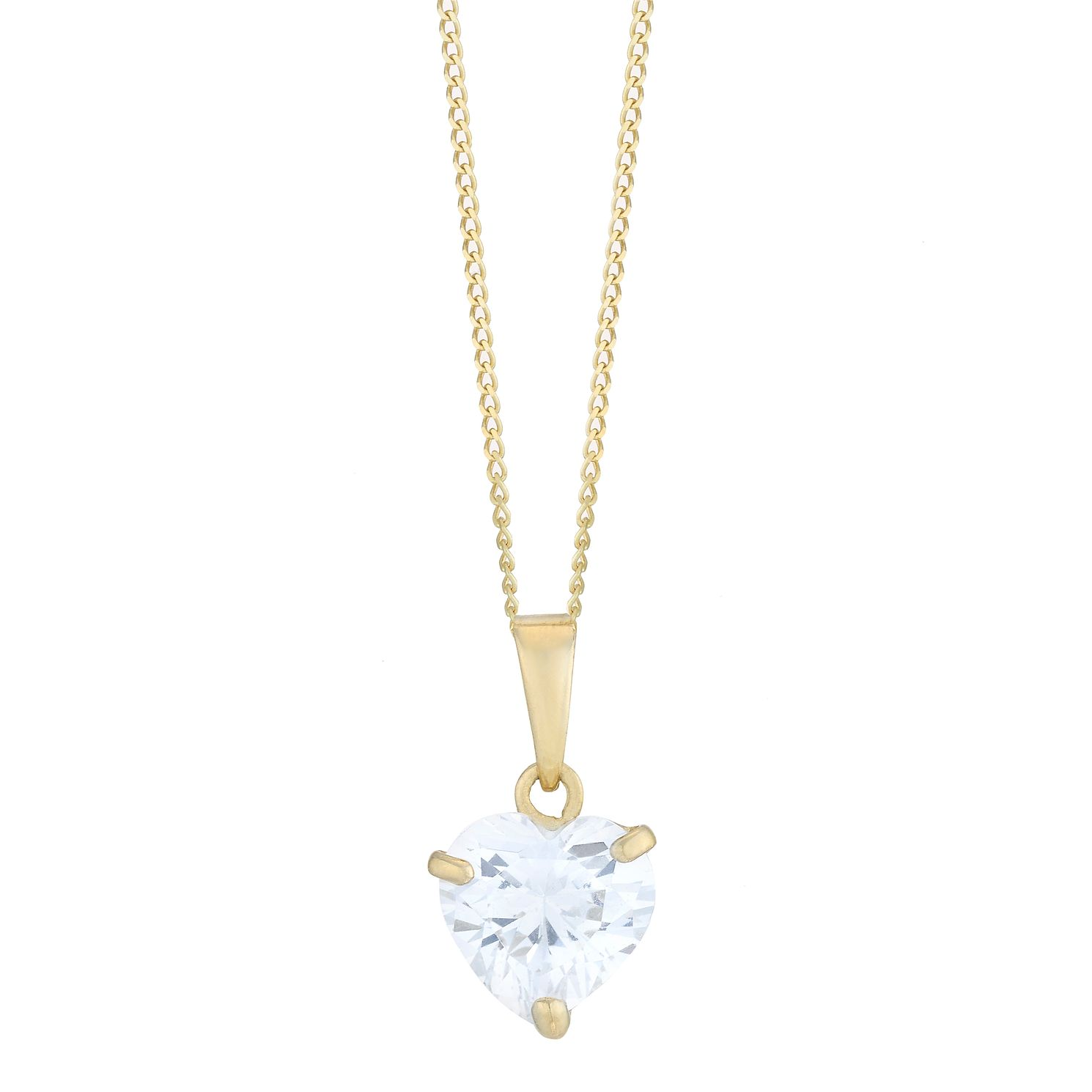 9ct Yellow Gold Heart Shaped Cubic Zirconia Pendant - Product number 8108471