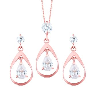 9ct Rose Gold Cubic Zirconia Drop Earring & Pendant Set - Product number 8108498