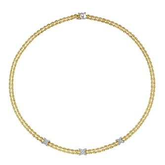 Together Silver & 9ct Bonded Gold Kisses Rope Necklace - Product number 8108501