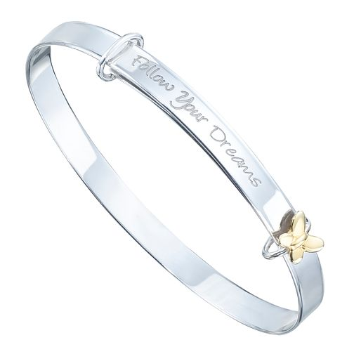 Children's Sterling Silver & 9ct Gold Expandable Bangle - Product number 8108595