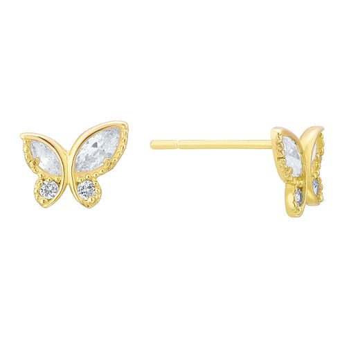 9ct Yellow Gold Cubic Zirconia Butterfly Stud Earrings - Product number 8108625