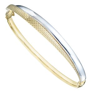 9ct White Gold & Yellow Gold Hinged Bangle - Product number 8108994