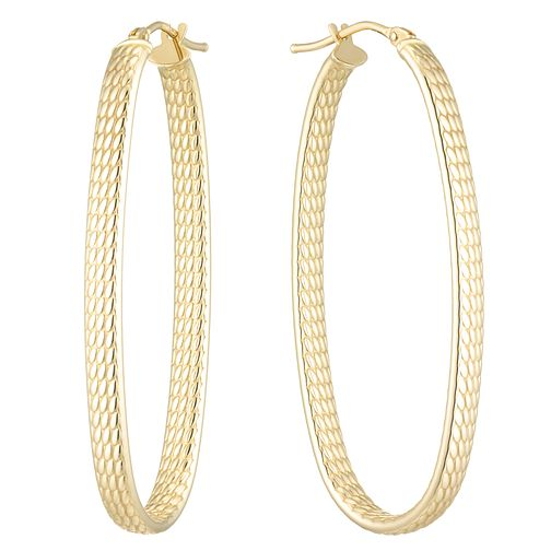 9ct Yellow Gold Large Oval Patterned Creole Earrings - Product number 8109001