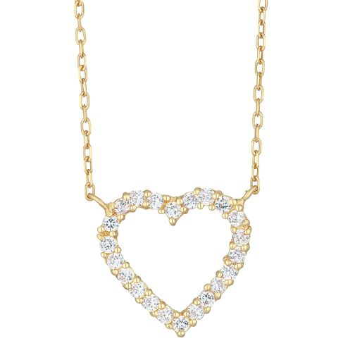 9ct Yellow Gold Cubic Zirconia Heart Necklet - Product number 8109117