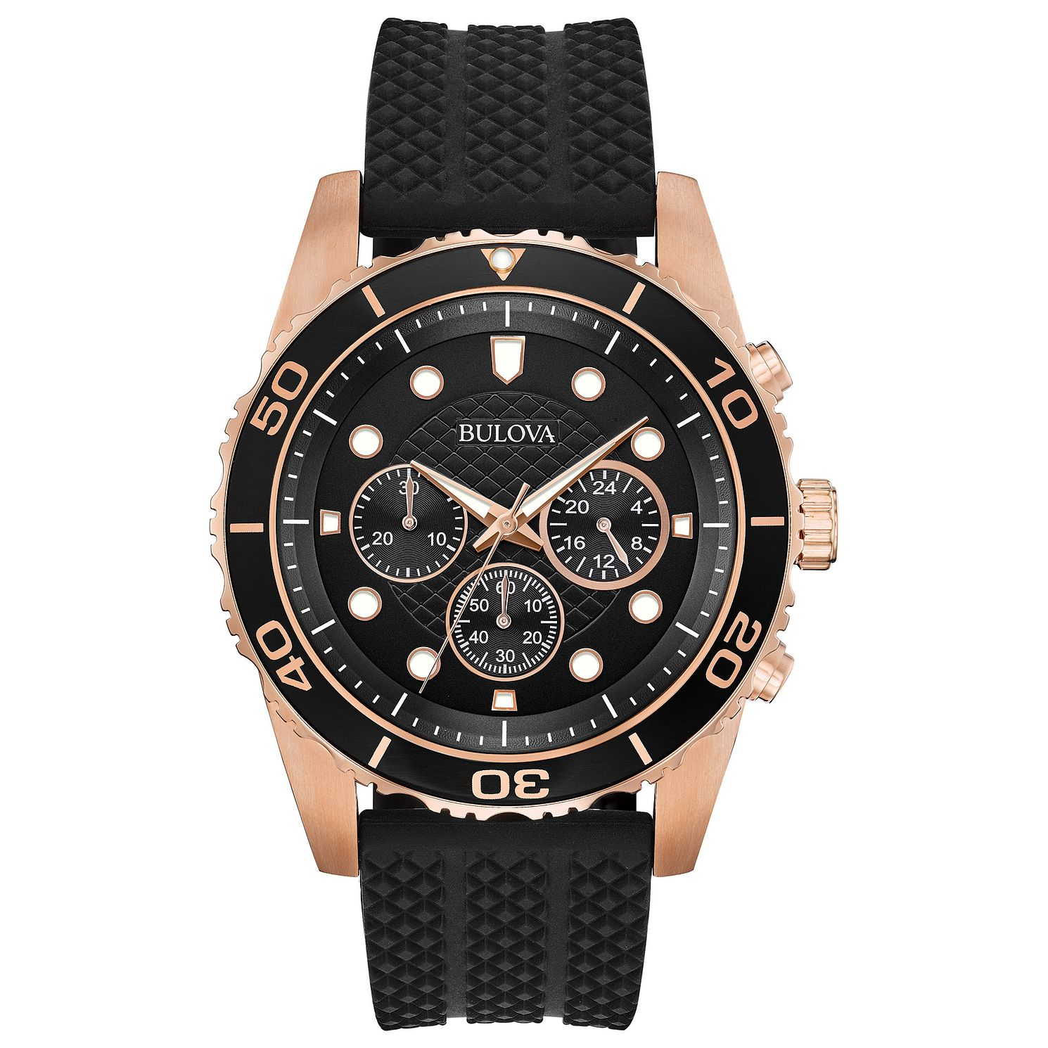 Bulova Men's Classic Black Rubber Strap Chronograph Watch - Product number  8109303