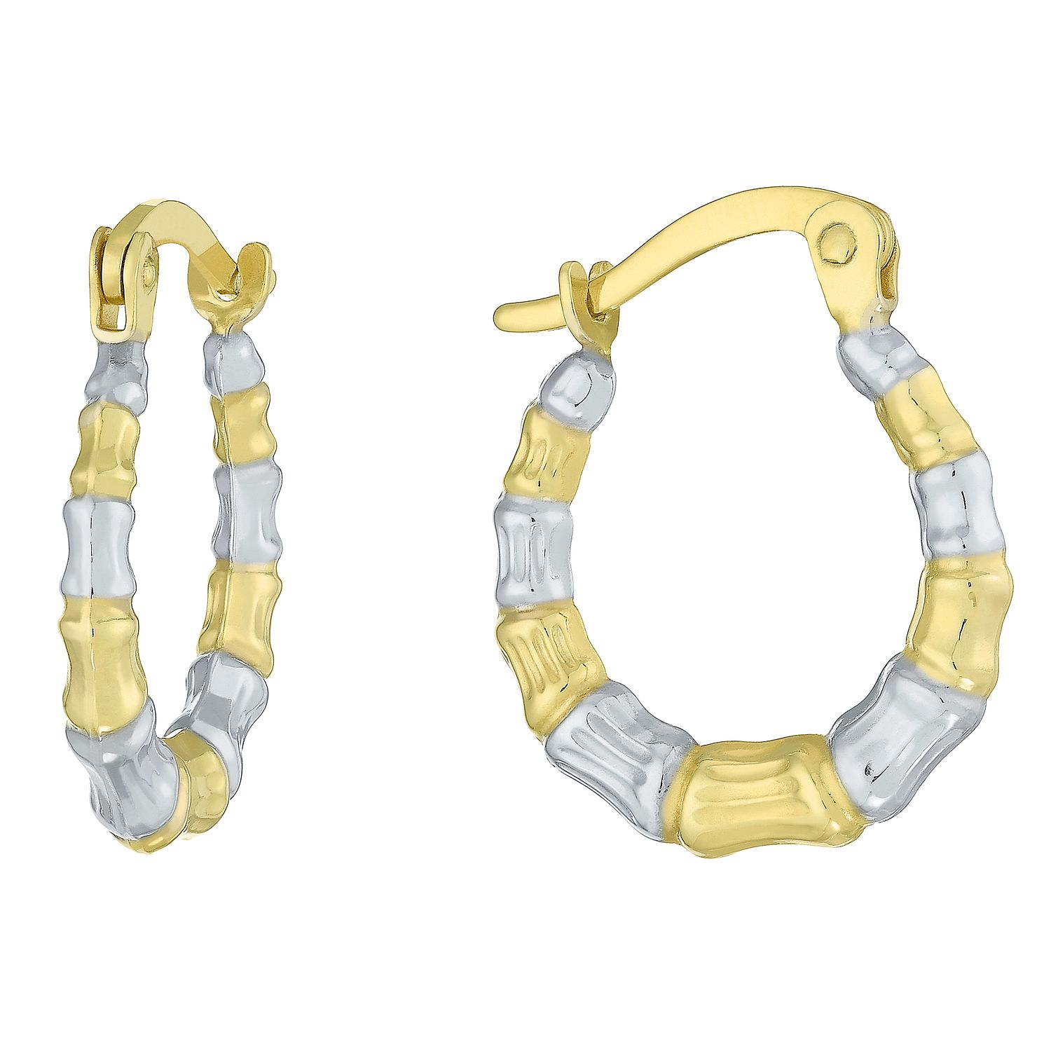 Together Silver & 9ct Bonded Gold Two Colour Hoop Earrings - Product number 8110654