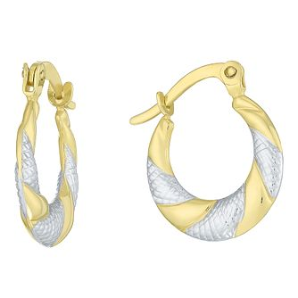 Together Silver & 9ct Bonded Gold 2 Col 10mm Hoop Earrings - Product number 8110670