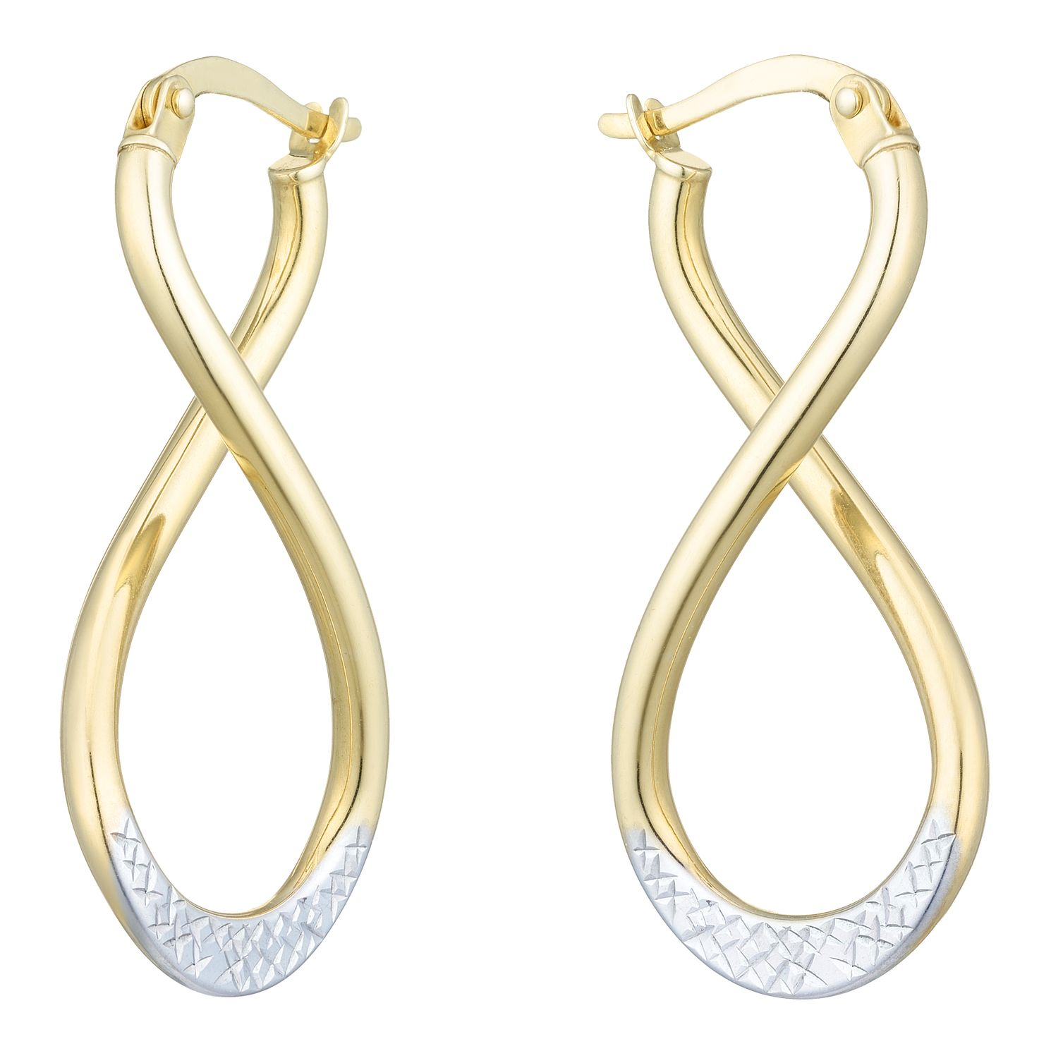 Together Silver & 9ct Bonded Gold Infinity Hoop Earrings - Product number 8110735