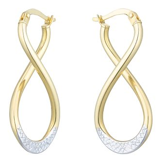 Together Silver & 9ct Bonded Gold Figure of Eight Earrings - Product number 8110735