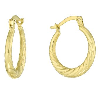 Together Silver & 9ct Bonded Gold 12mm Hoop Earrings - Product number 8110743