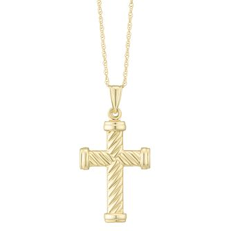 Together Silver & 9ct Bonded Gold Twisted Cross Pendant - Product number 8110875