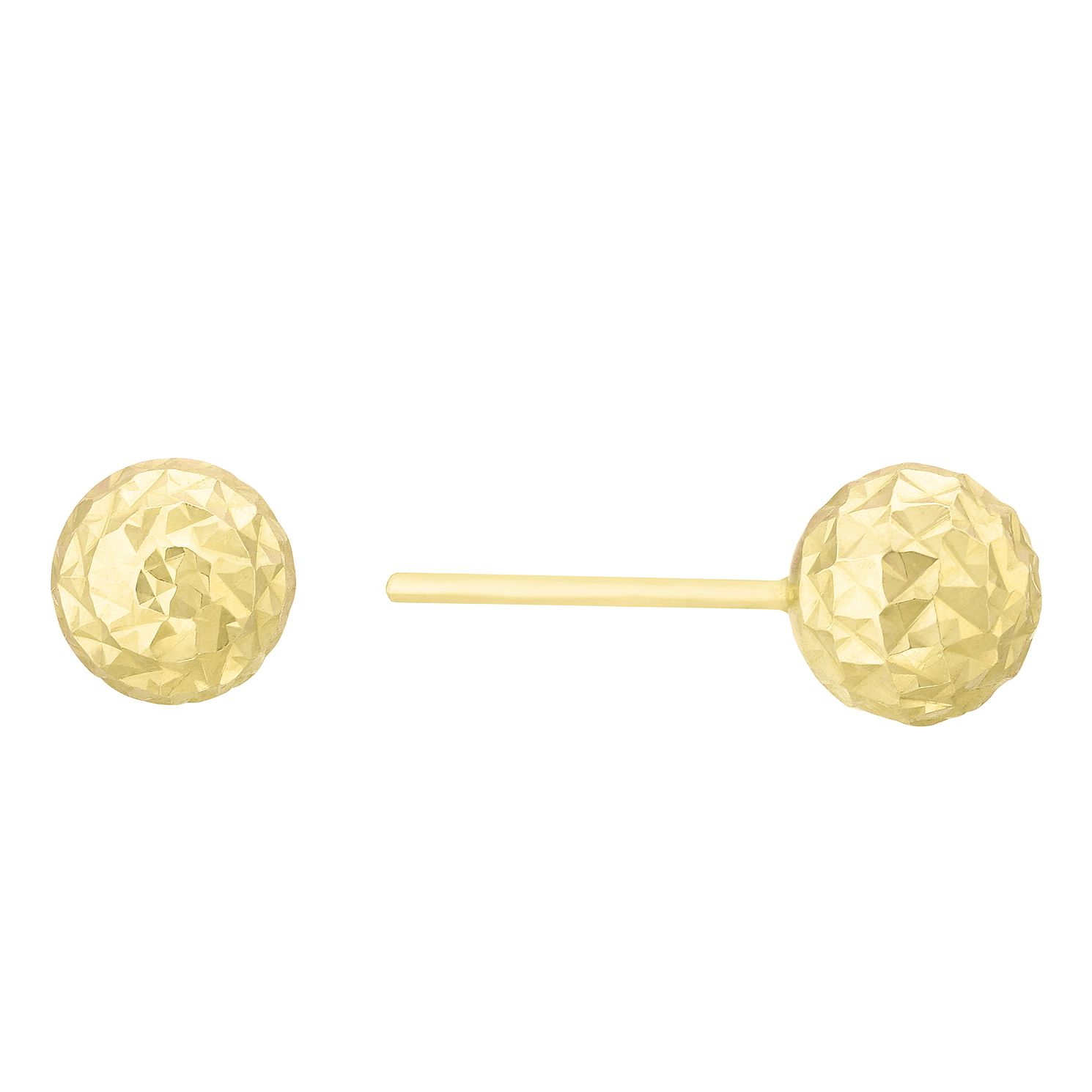 9ct Yellow Gold Diamond Cut Ball Stud Earrings - Product number 8111030