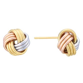 9ct Three Colour Gold Knot Stud Earrings - Product number 8111057