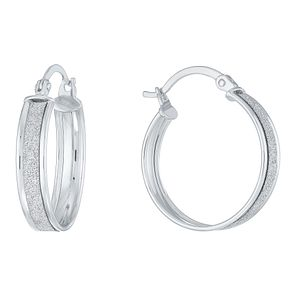 9ct White Gold Glitter Creole Earrings - Product number 8111081