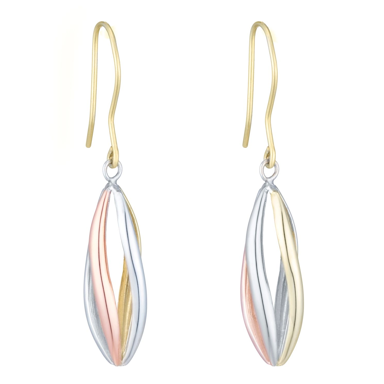 Together Silver & 9ct Bonded Gold Three Colour Cage Earrings - Product number 8111286