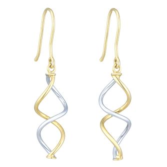 Together Silver & 9ct Bonded Gold Twisted Drop Earrings - Product number 8111294