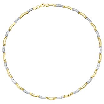 Together Silver & 9ct Bonded Gold Diamond Cut Bar Necklace - Product number 8111324