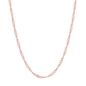 "9ct Rose Gold 18"" Singapore Chain Necklace - Product number 8111367"
