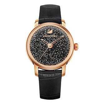 Swarovski Rose Gold Tone Crystalline Hours Black Strap Watch - Product number 8113432